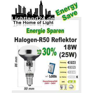 E14 - Halogen Energy Save R50 Reflektor 18 Watt - wie...