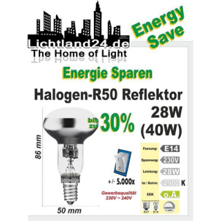 E14 - Halogen Energy Save R50 Reflektor 28 Watt - wie...