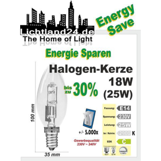 E14 - Halogen Energy Save Kerzenbirne 18 Watt - wie...