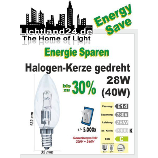 E14 - Halogen Energy Save gedrehte Kerzenbirne 28 Watt -...
