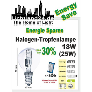 E14 - Halogen Energy Save Tropfenbirne 18 Watt - wie...