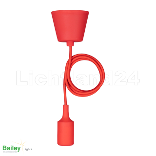 YOUNG STYLE Pendelleuchte SILICONE - 1,5 M - E27 - rot
