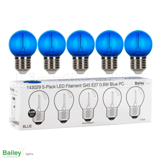 5er-Pack E27 - klare BLAUE - LED Filament (G45) 0.6W  -...